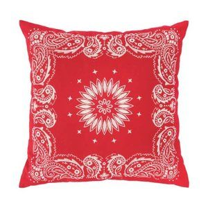Bandanna Red Embroidered 20 x 20 Pillow